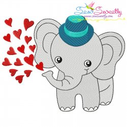 Baby Elephant Hearts Boy Embroidery Design