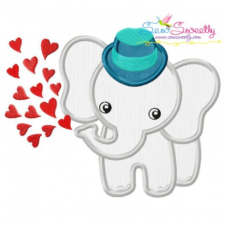Baby Elephant Hearts Boy Applique Design