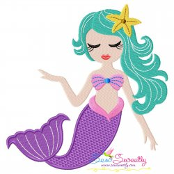 Cute Mermaid Star Embroidery Design