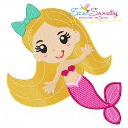 Baby Mermaid Blond Hair Embroidery Design