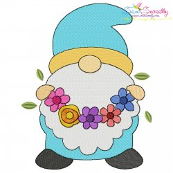 Spring Gnome Flower Wreath Embroidery Design