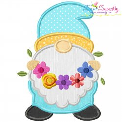 Spring Gnome Flower Wreath Applique Design