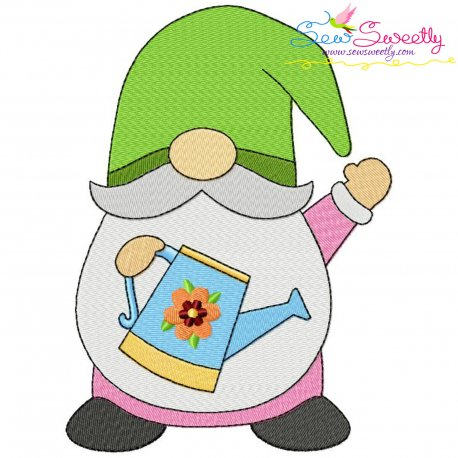 Spring Gnome Watering Can Embroidery Design Pattern- Category- Summer And Spring Season- 1