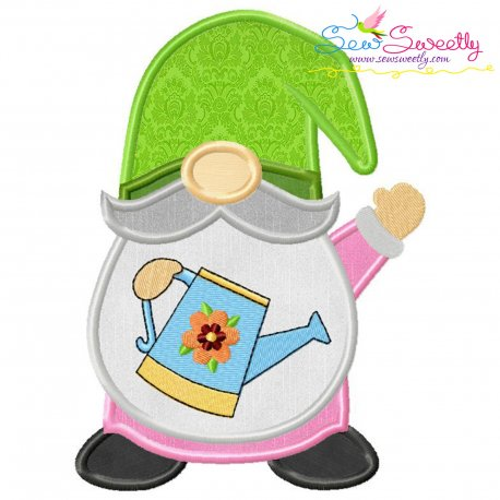 Spring Gnome Watering Can Applique Design Pattern- Category- Summer And Spring Season- 1