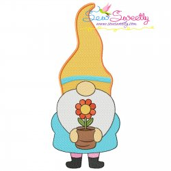 Spring Gnome Flower Pot Embroidery Design