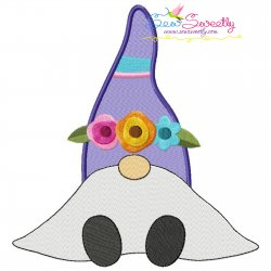 Spring Sitting Gnome Flowers Embroidery Design