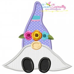 Spring Sitting Gnome Flowers Applique Design