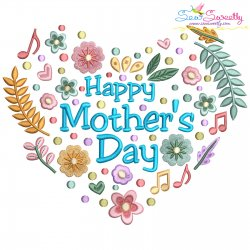 Happy Mother's Day Floral Heart Lettering Embroidery Design Pattern- Category- Mother's Day/Father's Day- 1