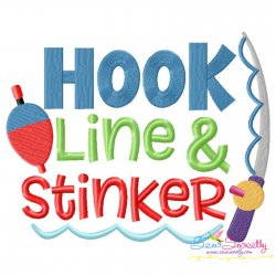 Hook Line And Stinker Fishing Lettering Embroidery Design