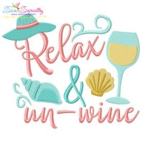 Relax And Un-Wine Beach Lettering Embroidery Design
