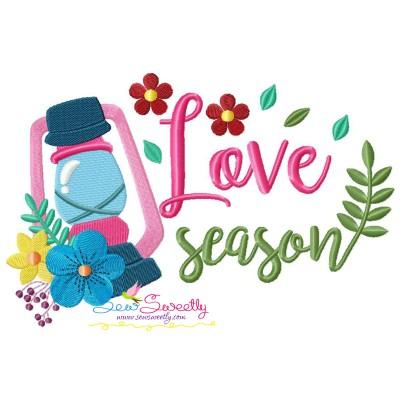Love Season Floral Lantern Lamp Spring Lettering Embroidery Design