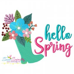 Hello Spring Floral Boot Lettering Embroidery Design