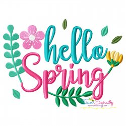 Hello Spring Flowers Lettering Embroidery Design