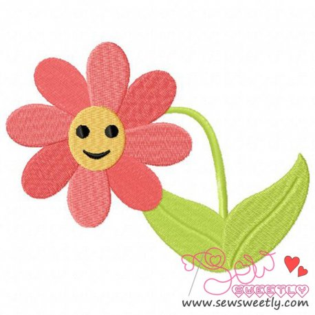 Smily Flower Embroidery Design