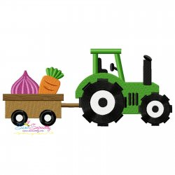 Farm Tractor With Wagon-3 Embroidery Design
