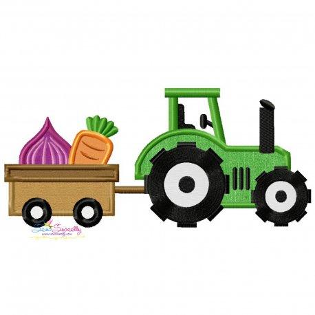 Farm Tractor With Wagon-3 Applique Design