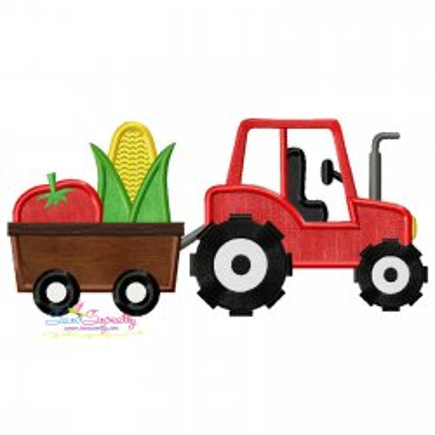 Farm Tractor With Wagon-2 Applique Design