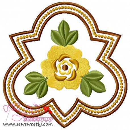 Floral Badge-2 Embroidery Design