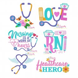 Nursing Medical Lettering Embroidery Design Bundle-1