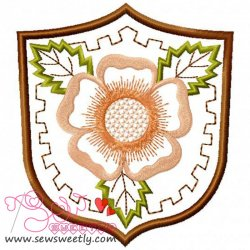 Floral Badge-1 Embroidery Design