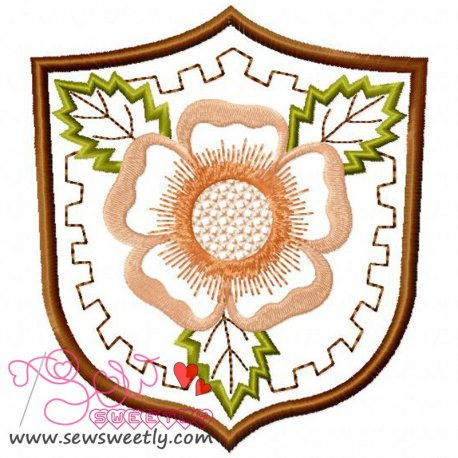 Floral Badge-1 Embroidery Design Pattern- Category- Floral Designs- 1