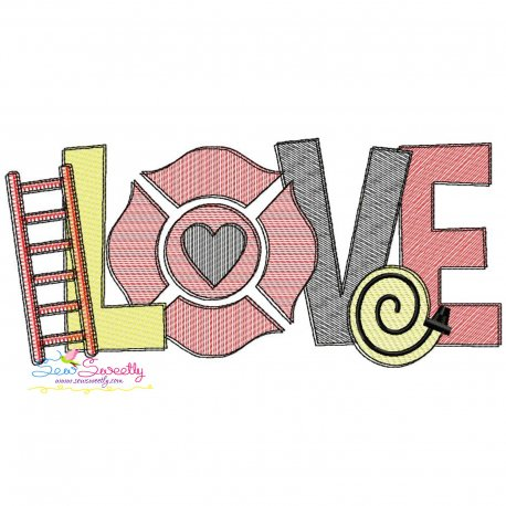 Love Firefighter Sketch Lettering Embroidery Design Pattern- Category- Sketch/Light Fill Embroidery Designs- 1