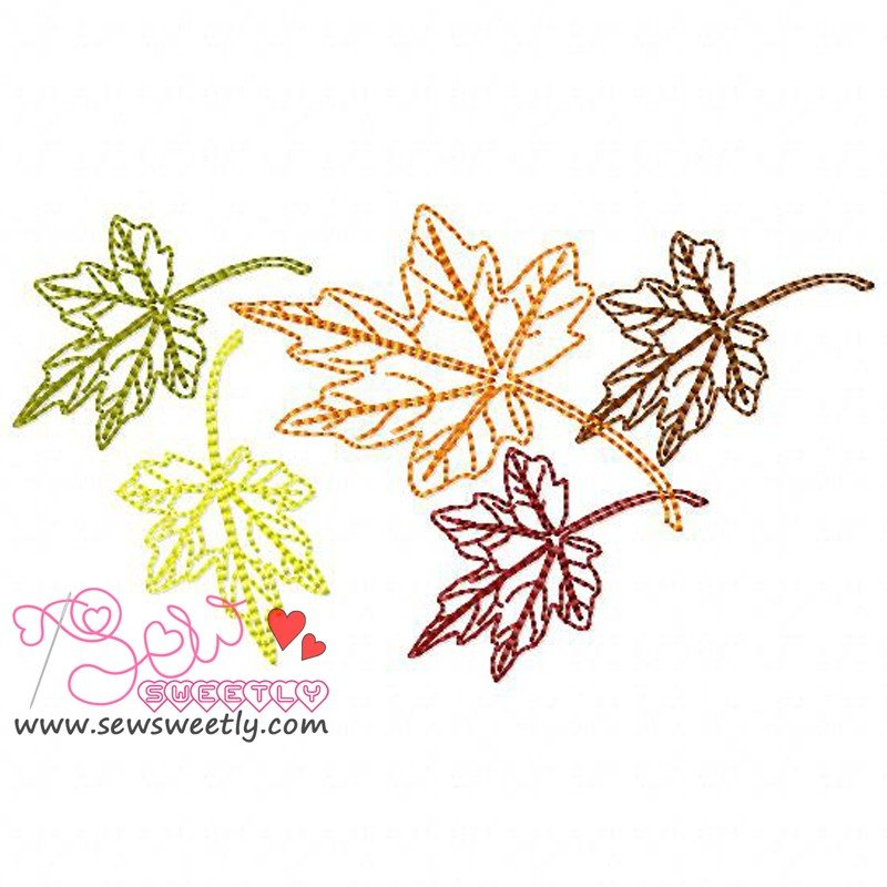 Falling leaves machine embroidery design