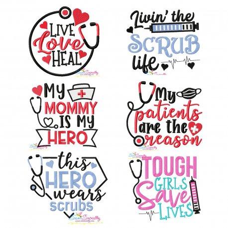 Nursing Designs-2 Medical Lettering Embroidery Design Bundle