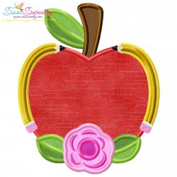 Apple Pencil Flower Applique Design