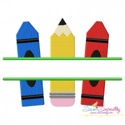 Pencil Crayon Split Embroidery Design