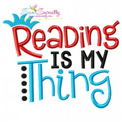 Reading Is My Thing American Theme Lettering Embroidery Design