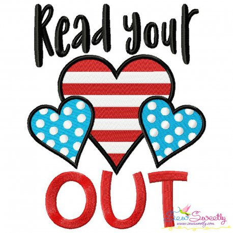 Read Your Heart Out American Theme School Lettering Embroidery Design