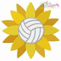 Volleyball Sunflower Embroidery Design Pattern- Category- Sports Designs- 1