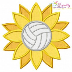 Volleyball Sunflower Applique Design Pattern- Category- Sports Designs- 1