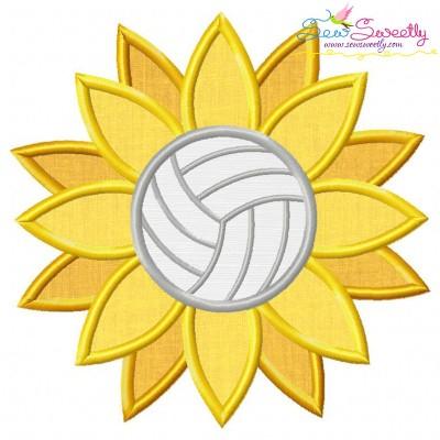 Volleyball Sunflower Applique Design