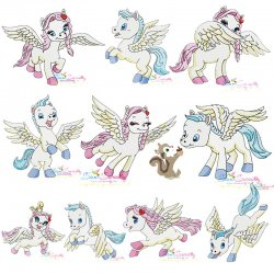 Cute Pegasus Embroidery Design Bundle