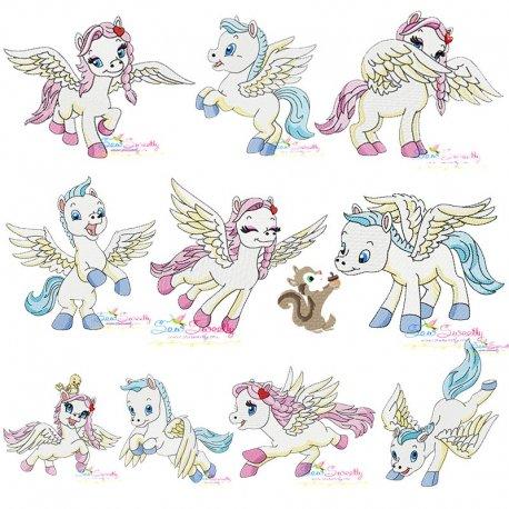 Cute Pegasus Embroidery Design Bundle