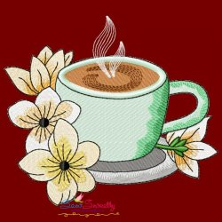 Cup And Flowers-9 Embroidery Design
