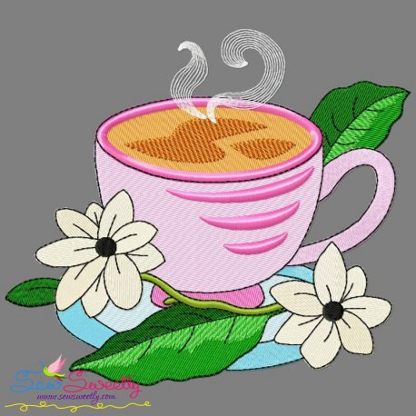 Cup And Flowers-7 Embroidery Design