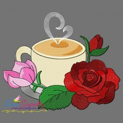 Cup And Flowers-10 Embroidery Design