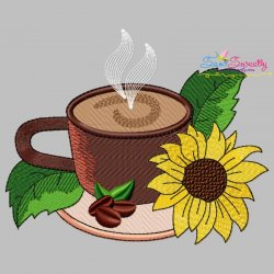 Cup And Flowers-6 Embroidery Design
