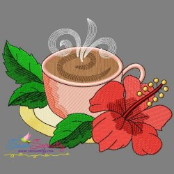 Cup And Flowers-5 Embroidery Design