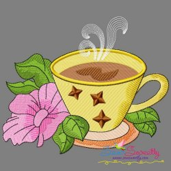 Cup And Flowers-4 Embroidery Design