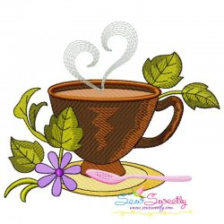 Cup And Flowers-3 Embroidery Design