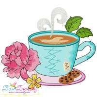 Cup And Flowers-2 Embroidery Design