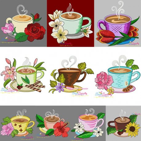 Cup And Flowers Embroidery Design Bundle