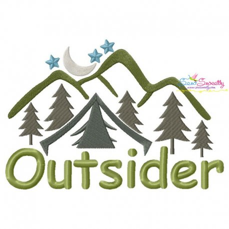 Outsider Camping Lettering Embroidery Design Pattern- Category- Nature And Camping Designs- 1
