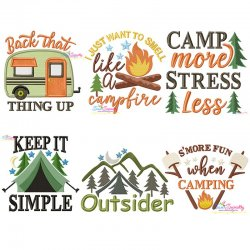Camping Lettering Embroidery Design Bundle