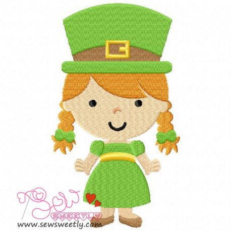 St. Patricks Day Girl Embroidery Design